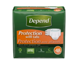 Depend Briefs, with Adhesive Tabs, Maximum Absorbency, Unisex, Large